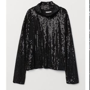 H&M BLACK SEQUINED LONG SLEEVED TOP